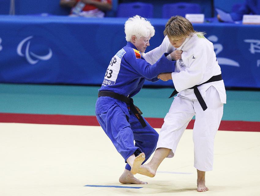 Paralímpiada de Pekín 2008 Marta Arce en combate de judo